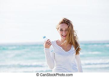 bonito, verão, mulher, jovem, água, bebendo