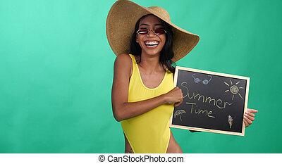 bonito, verão, mulher, sobre, luminoso, giz, escrito, verde,...