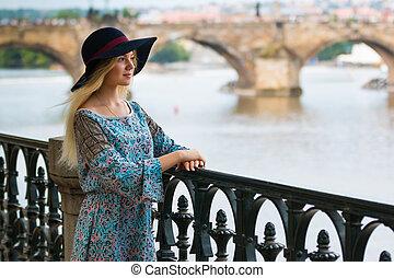 bonito, verão, na moda, dique, retrato, menina, chapéu, dia