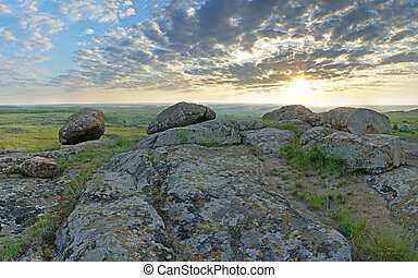 bonito, verão, paisagem, em, a, montanhas., amanhecer