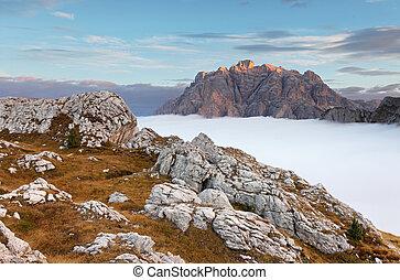 bonito, verão, paisagem, em, a, montanhas., amanhecer, -, itália, dolomites