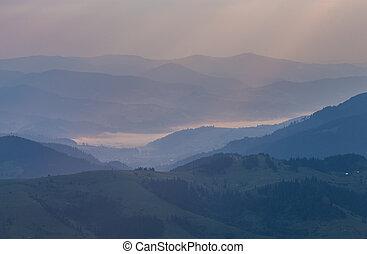 bonito, verão, paisagem, em, a, montanhas.