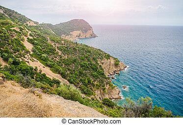 bonito, verão, turquesa, papel parede, adequadas, sol, azul, ensolarado, costa, água, grego, verde, acima, vista, penhascos, épico, arbustos, dia, horizonte