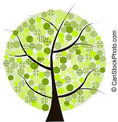 bonito, verde branco, árvore, bac