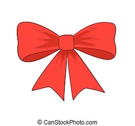 bonito, vermelho, bow-knot, -, vetorial
