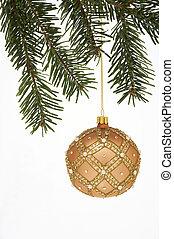 bonito, verzierte, bola, fundo, weissem, weihnachtskugel,...
