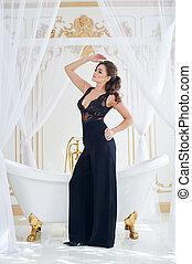 bonito, vestido, banheiro, mulher, pretas