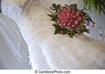 bonito, vestido, casamento branco