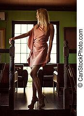 bonito, vestido cor-de-rosa, mulher, moda