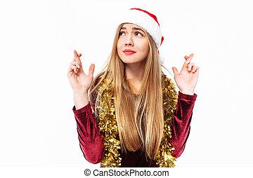 bonito, vestido, doce, claus, dedos, orando, santa, menina, chapéu, crossed.