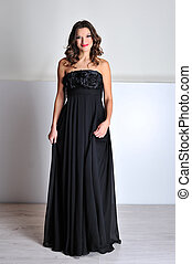 bonito, vestido, mulher, noite, pretas