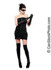 bonito, vestido, mulher, pretas, jovem