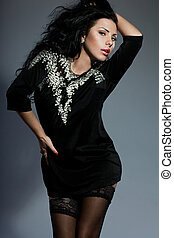 bonito, vestido, mulher, pretas, na moda