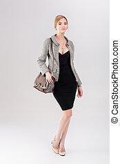bonito, vestido, negócio mulher, casaco, purs, pretas, loiro