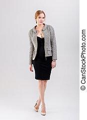 bonito, vestido, negócio mulher, cinzento, casaco, pretas, loiro
