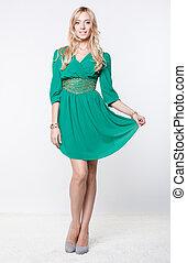 bonito, vestido, verde, loiro