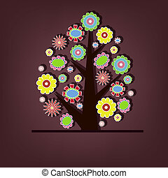 bonito, vetorial, árvore, com, flores