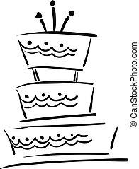bonito, vetorial, cor, velas, ilustração, desenho, aniversário, three-layered, bolo, quadro, ou