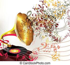 bonito, vetorial, música, fundo