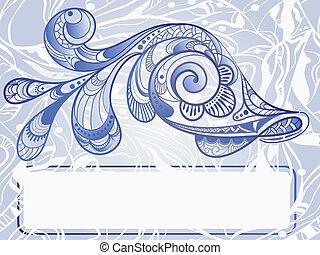 bonito, vetorial, vindima, peixe, abstratos, mão, fundo, quadro, texto, desenhado, seu, estilo