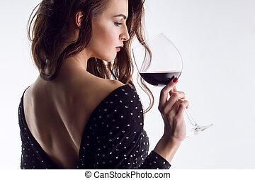 bonito, vidro, mulher, jovem, vinho