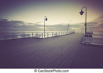 bonito, vindima, Cais, madeira, foto,  Seascape
