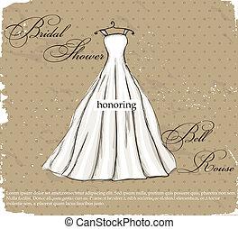 bonito, vindima, casório, dress., cartaz