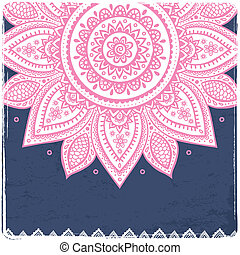bonito, vindima, indianas, floral, ornamento