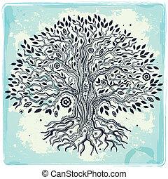 bonito, vindima, mão, desenhado, árvore vida