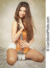bonito, violino, mulher