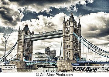 bonito, vista, de, magnífico, ponte torre, em, londres