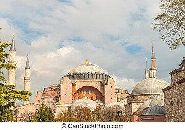 bonito, vista, de, sophia hagia, museu, istambul
