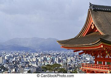bonito, vista, kyoto, japão, temple., kiyomizu
