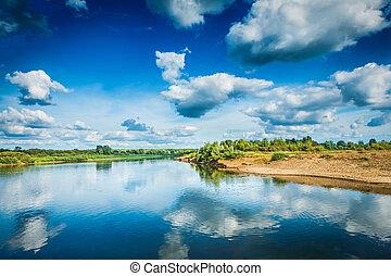 bonito, vista, ligado, rio, em, dia ensolarado