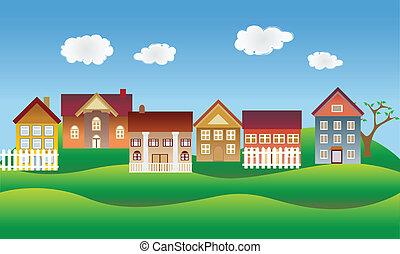 bonito, vizinhança, ou, vila