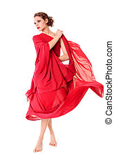 bonito, voando, mulher, vestido, vermelho