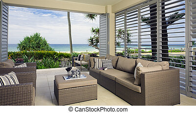 bonito, waterfront, oceânicos, conjunto, vistas
