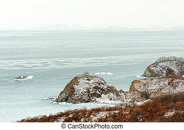 bonito, winter., panorâmico, japoneses, costa, vista mar