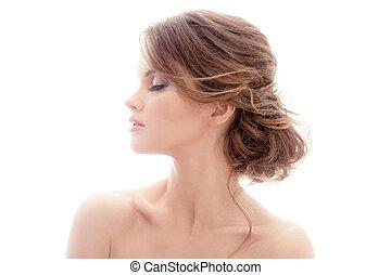 bonito, woman., hairstyle., loura