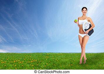 bonito, woman., jovem, condicão física