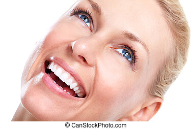 bonito, woman., sorrizo, e, teeth.