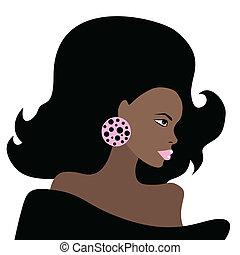 bonito, woman., vetorial, illustration., africano