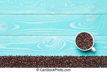 bonito, xícara café, madeira, turquesa, feijões, fundo,...