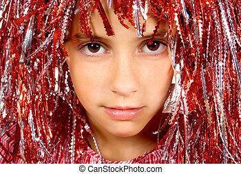 bonito, yong, menina, com, carnaval, peruca