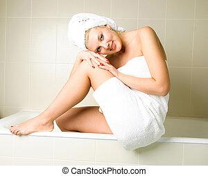 bonito, yougn, mulher, banheiro