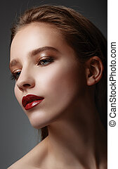 bonito, youn, closeup, glamor, elegante, retrato, excitado,...