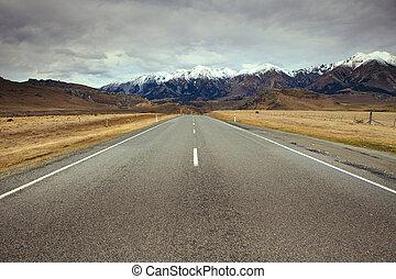 bonito, zelândia, asfalto, montanha, maneiras, panorâmico, ...