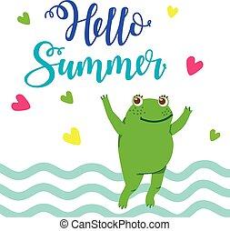 bonjour, été, grenouille