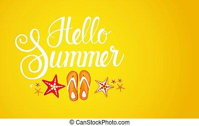 bonjour, été, saison, texte, bannière, résumé, fond jaune