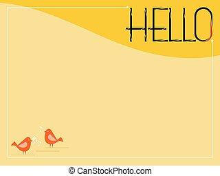 bonjour, carte, salutation
